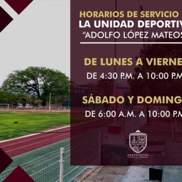 """Horarios de Servicio de la Unidad Deportiva """"Adolfo López Mateos"""""""